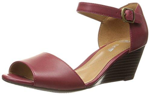 Clarks Women's Brielle Drive Dress Sandal, Cherry, 9.5 M (Drive Red Wedges)