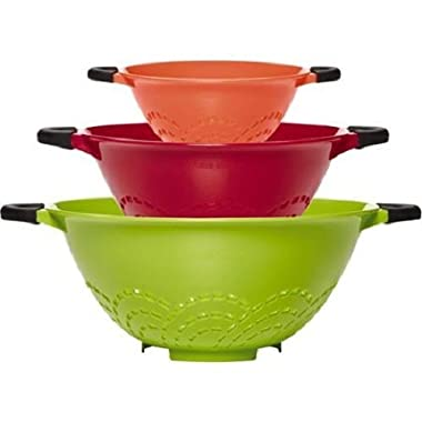 Farberware Soft Grip Set of 3 Colanders, Assorted Colors by Lifetime Brands
