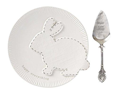 - Mud Pie Ceramic Easter Bunny Dessert Plate Set, White