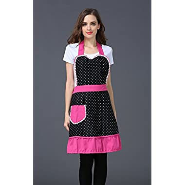 Cute White Dot Women Aprons Fashion for Girls Vintage Home Cooking Retro Beautiful Apron for Gift with Red Black