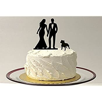 WITH DOG Wedding Cake Topper Silhouette Bride And Groom