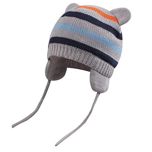 BAVST Baby Beanie Hat for Winter with Earfalp Cute Bear Kids Toddler Girls Boys Warm Knit Cap 0-2Years (New-Grey, L(12-30M))