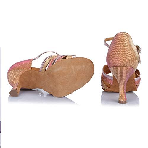 Con Rhinestone af412 Rosa zapatos Las Hroyl Baile Para Latino Modelo De Cuero Salón Zapatos Mujeres wxpBqO4q0Y