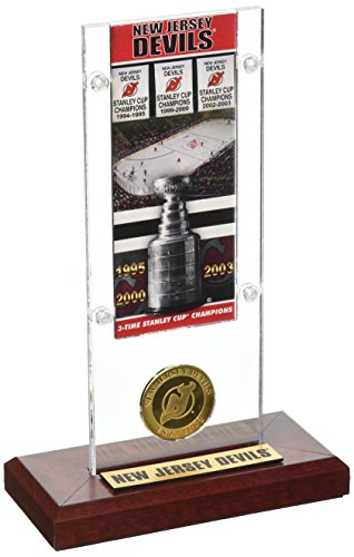 "NHL New Jersey Devils 3X Stanley Cup Champions Ticket & Coin Acrylic Display, 12"" x 6"" x 7"", Bronze"