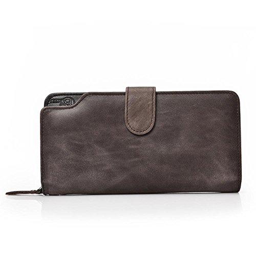 Aoligei Hommes de carte multi-sac main cuir grand portefeuille tenant sac business loisirs tête en cuir C