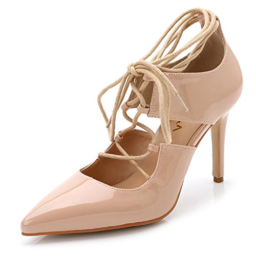 Aisun Women's Sexy Patent Leather Cutout Pointed Toe High Heel Gilly Tie Up Gladiator Ankle Wrap Dress Pumps Party Stiletto Shoes Apricot 10 B(M) US - Patent Gladiator Shoes