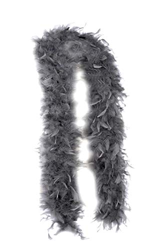 SACASUSA (TM) Fashion 100g Feather Chandelle Boa 6 feet long (10 colors to Pick) (Gray) -
