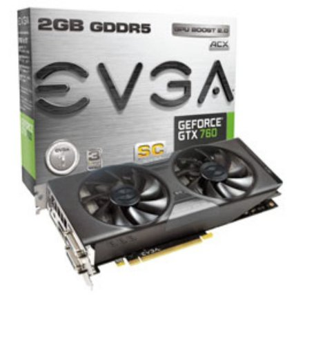 EVGA GeForce GTX760 Dual Superclocked ACX Cooler 2GB 256-Bit GDDR5 Double BIOS Dual-Link DVI-I/DVI-D HDMI SLI Graphics Cards 02G-P4-3765-KR ()