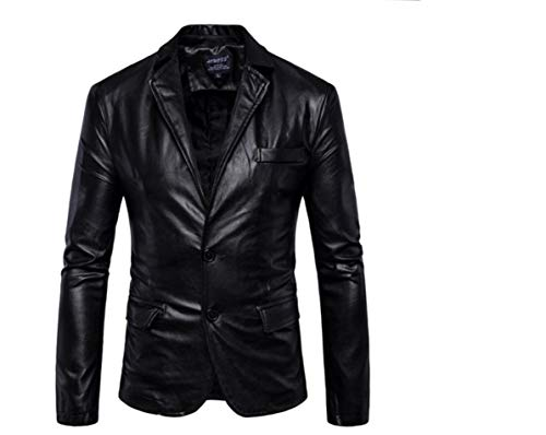MogogoMen Long-Sleeved Turn-Down Collar Solid Slim Fit Faux Leather Jackets Black