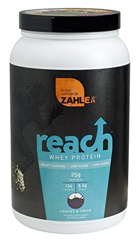 Zahler Reach, Whey Protein Powder, Advanced Formula for Lean Muscle Build, Certified Kosher, Great Tast Cookies Cream, 2 Pound