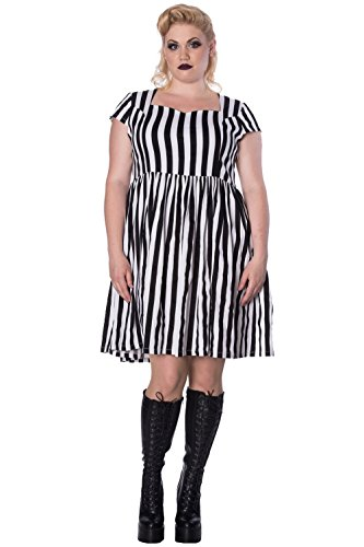 Banned Schwarz DressGothic Alternative Weiß Weiß Striped Schwarz Wei Mini Schwarz Gothic Alternative Bwx1FqnBr
