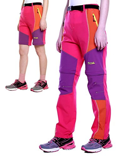 Makino Kids Convertible Quick Dry Shorts Outdoor Hiking Pants For Girls Convertible Rose Red & Orange S