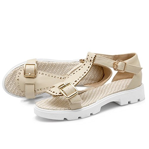 TAOFFEN Buckle Summer T Platform Strap Double Women Casual Beige Sandals FwnqASFZa