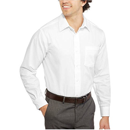 George Dress Shirts - George Men's Long Sleeve Poplin Classic Fit Solid Button-Up Dress Shirt (XXX-Large, White)