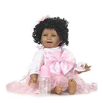 NPK Collection - Peluca de pelo rizado para recién nacido, de silicona, color negro