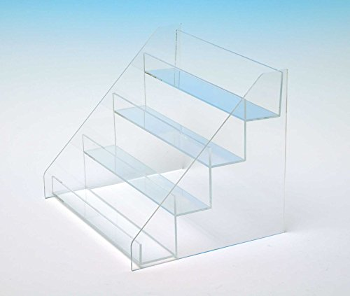 Countertop Stair Display | Retail Box Stand | Acrylic Four Step Stairs | Card Display | STL88W