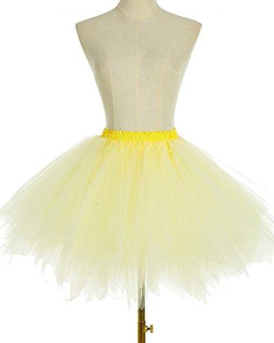 7f18c8148a44 Damen Kurze Unterkleid Petticoat Rock Ballett Bubble Tutu Unregelmäßig  Mehrfarbige Pettiskirt Multi-Schichten Abendkleid Hellgelb ...
