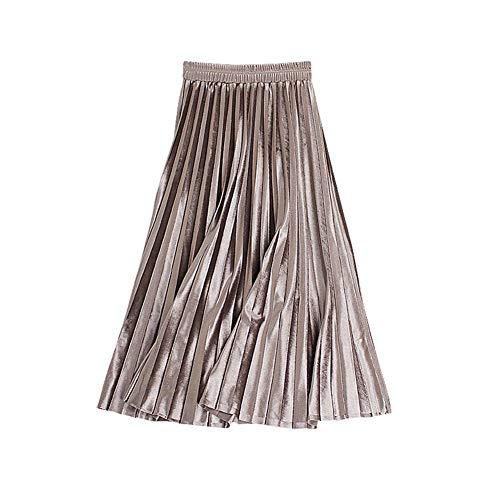 Lovely Item Women's Shiny Midi A-line Pleated Velvet Skirt Elastic Waist 24