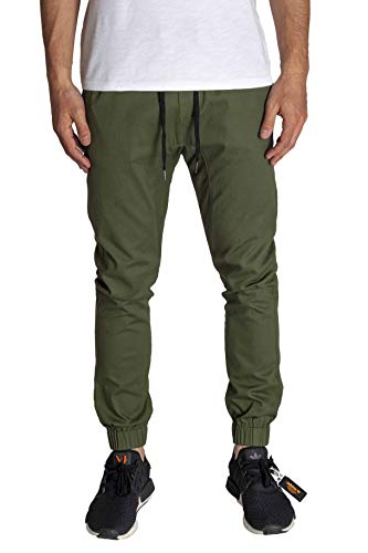 - KDNK Men's Jogger Fit Stretch Twill Elastic Waist and Leg Drop Crotch Pants (36, Olive)