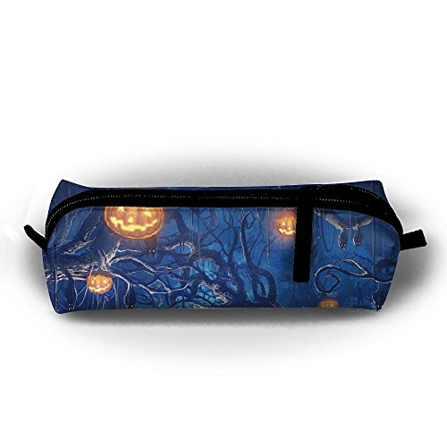 ZQQZHHK Halloween Bats Pumpkin Scary Night Pen Pencil Case Zipper Closure Stationery Cosmetic Make Up Bag Organizer Travel Bag Coin Purse Pouch ()
