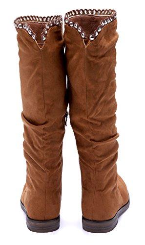 Schuhtempel24 Damen Schuhe Flache Stiefeletten Stiefel Boots Flach Nieten 2 cm Camel