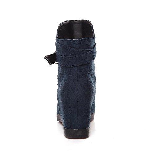 AllhqFashion Mujeres Cuña Sólido Puntera Redonda Sin cordones Botas con Hebilla Azul
