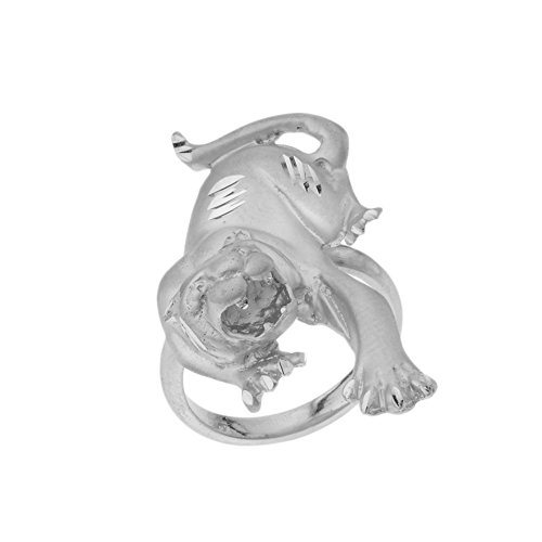 (Unique Fierce Matte Panther Statement Ring in Solid Sterling Silver (Size 8) )