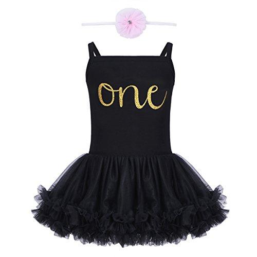 - iEFiEL Baby Girls Ruffle Tutu Dress Newborn 1st First Birthday Rompers Bodysuit Headband 2PCS Outfits Black 12-18 Months