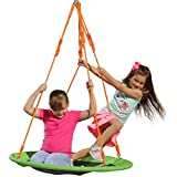 Indoor Outdoor Round Spinner Tree Swing - 40'' Large Saucer Swing in Green - Durable Steel Frame - Waterproof - Adjustable Ropes - Easy to Install - Summer Backyard Fun for Kids (300 lbs Limit)