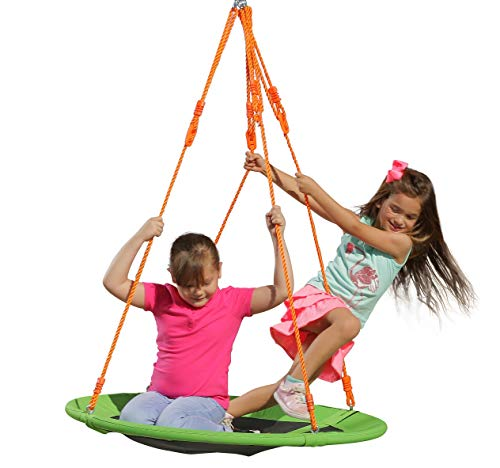Kids Outdoor Spinner Tree Swing - 40'' Large Saucer Round Swing in Green - Durable Steel Frame - Waterproof - Adjustable Ropes - Easy to Install - Summer Backyard Fun for Kids (300 lbs Limit) (Tree Spinner)