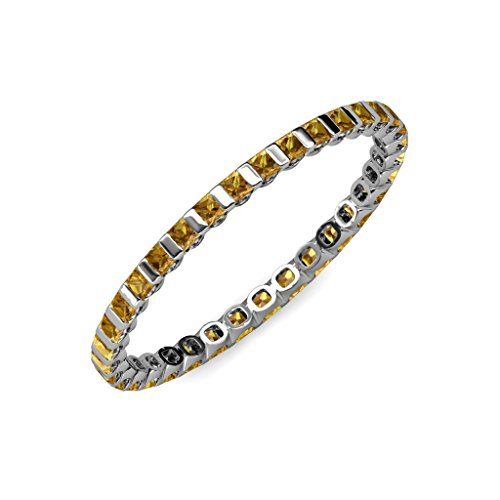 Citrine 2mm Common Channel Set Eternity Band 1.16 ct tw to 1.32 ct tw in 14K White Gold