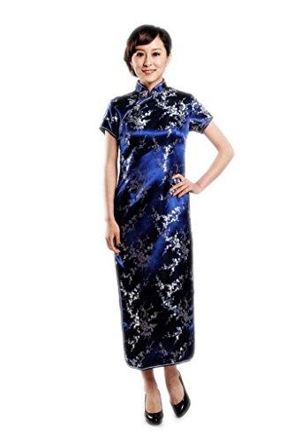 Short Sleeve Cheongsam Dress - JTC Women's Plum Flower Short Sleeve Cheongsam Dress Navy Blue (L)