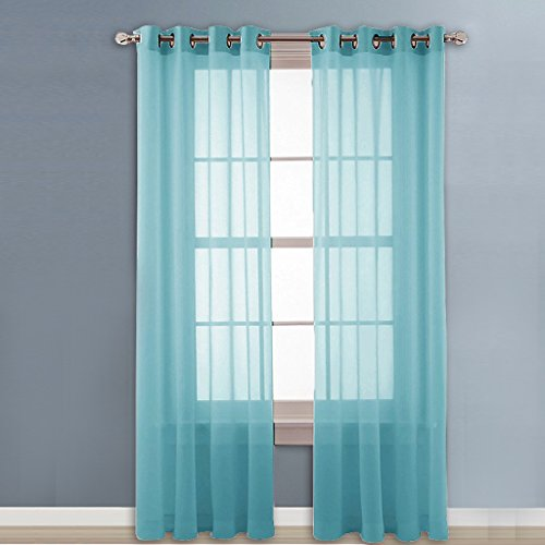 NICETOWN Sheer Curtain Panels Grommet   Home Decorative Solid Drapes For  Bedroom (Aqua Blue   Teal, 2 Panels, W54 X L96 Inches)