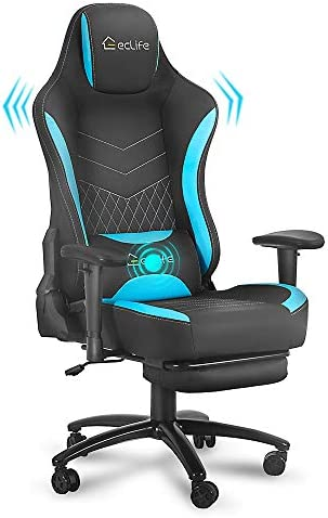 eclife Gaming Chair, Ergonomic Racing Office Chair, Massage Composite Linen Recliner Computer Desk Chair W/Lumbar Support Headrest Armrest Rolling Swivel Task Chair (Blue+Footrest)