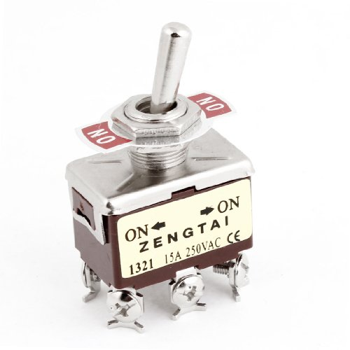 uxcell DPDT ON/ON 2 Way 6 Screw Terminals Toggle Switch 15A AC 250V