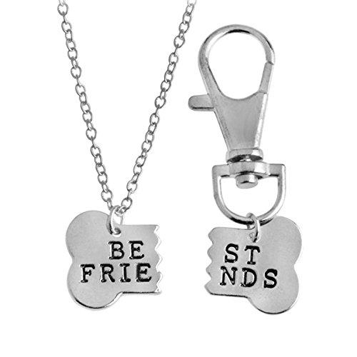 Kebaner Bones Keychain BFF Friendship Dog Lover Gift Dog Bone Shaped Best Friends Charm Necklace 2pcs/set