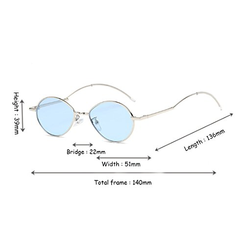 soleil de Femme Vintage Lunettes de ovale Fashion soleil Ocean métal Masculin Dintang Bleu Vintage Lunettes en Lens RqtwBq