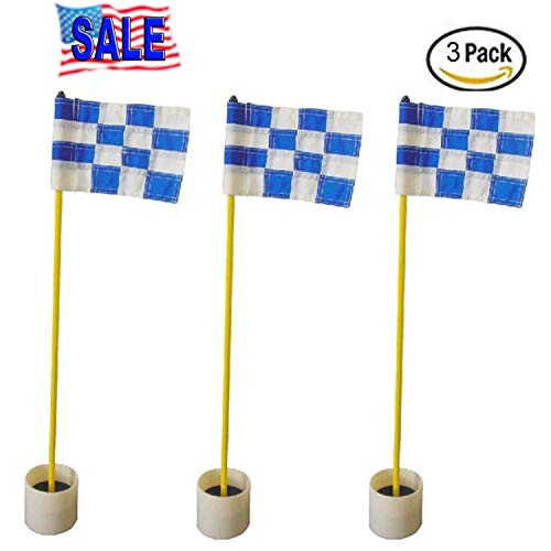 CRESTGOLF 3Sets Backyard Practice Golf Hole Pole Cup Flag Stick, 3 Section,Golf Putting Green Flagstick (white-blue plaid)