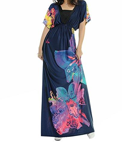 Zuku Life Womens Summer Deep V-Neck Versatile Long Floral Print Maxi Dress #009