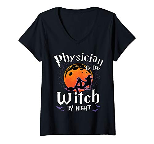 Womens Doctor by Day Witch by Night Halloween Specialist Gifts V-Neck T-Shirt ()