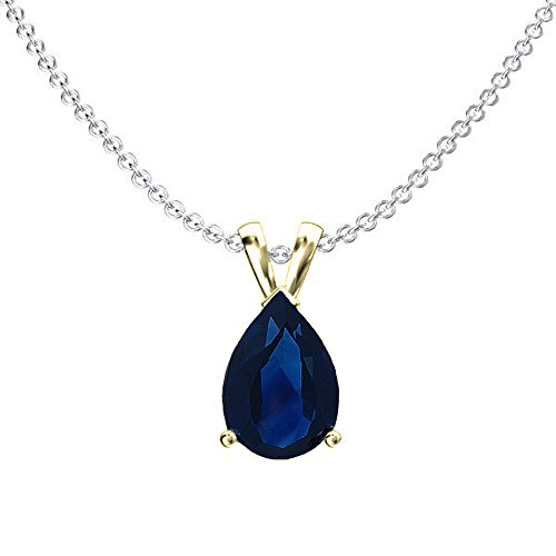 Dazzlingrock Collection 14K 8x6 mm Pear Cut Blue Sapphire Ladies Solitaire Pendant (Silver Chain Included), Yellow Gold