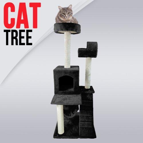 50″ Cat Tower Tree w/ Condo Scratcher Furniture Kitten House Hammock New, Black, My Pet Supplies