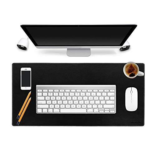 "Matladin Leather Smooth 24""x14"" Desk Mat Pad Blotter Protector, Laptop Keyboard Desk Pads Organizer with Comfortable Writing Surface, Extended Non-Slip Rectangular"