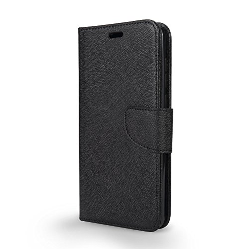T-Mobile REVVL Plus Case, Coolpad REVVL Plus Case, Wallet S0270UU with PU Leather Flip Stand Pouch w. TPU Inner Case w. Clear Screen Protector Film (WAL Black + Screen Protector)