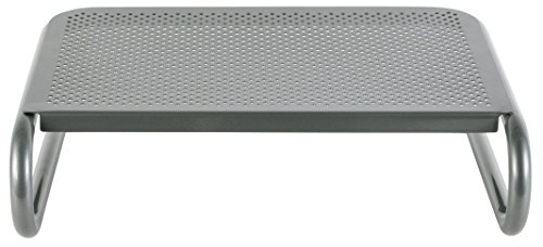 Allsop Metal Art Jr. Monitor Stand, 14-Inch wide platform holds 40 lbs with keyboard storage space - Pewter (27021)