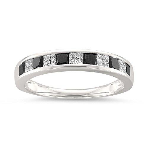Princess Cut Diamond Band (14k White Gold Princess-cut Black & White Diamond Wedding Band Ring (1 cttw, H-I, I1-I2), Size 7)