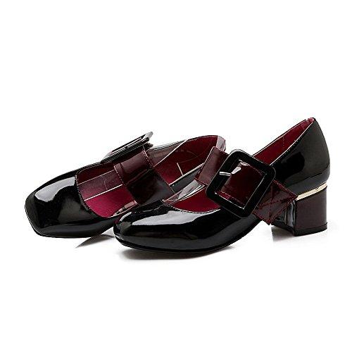 Amoonyfashion Damesgesp Katjes Hakken Geëmailleerd Leer Vierkante Dichte Teen Pumps-schoenen Zwart