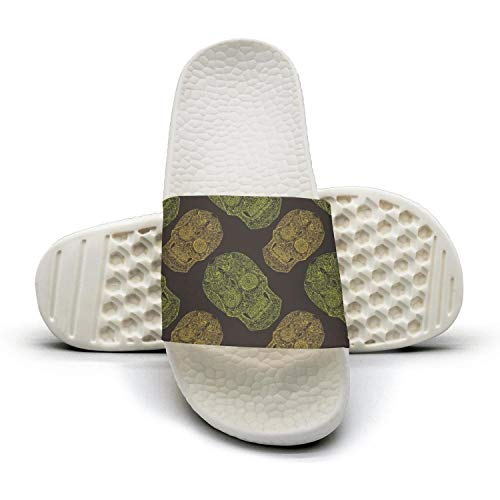 (ftuyuy erett Summer black mexican candy skull calavera men Shower Anti-Slip Indoor Home Sandal Slipper Shoes)