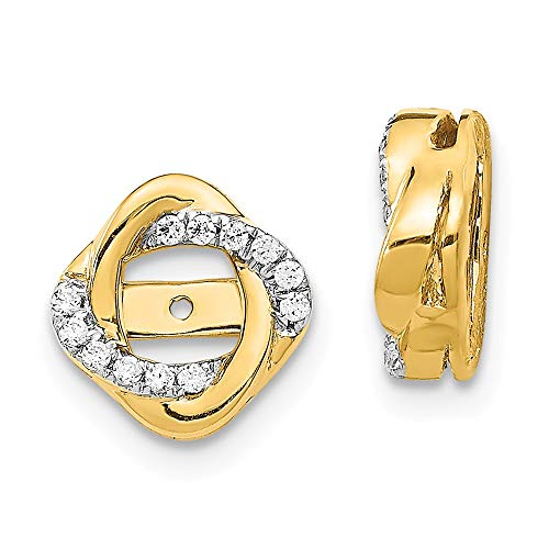 - 14K Yellow Gold Diamond Love Knot Love Knot Earring Jackets 4.00 mm Opening for Stud Earrings (0.12Cttw)