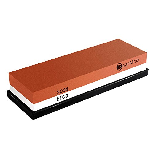 BearMoo Whetstone, Knife Sharpening Stone 3000/8000 Grit Combination...